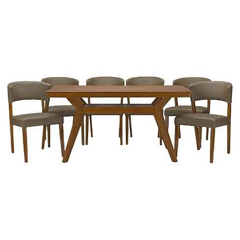 Montreal Mid-Century 7 Piece Dining Set - Brown Walnut/Gray - Baxton Studio - image 1 of 5