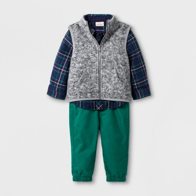 Baby Boys' 3pc Collared Button-Down Flannel Bodysuit, Fleece Vest and Poplin Joggers - Cat & Jack™ Blue/Green 3-6M