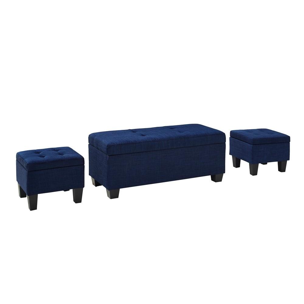 Set of 3 Everett Storage Ottoman Blue - Picket House Furnishings
