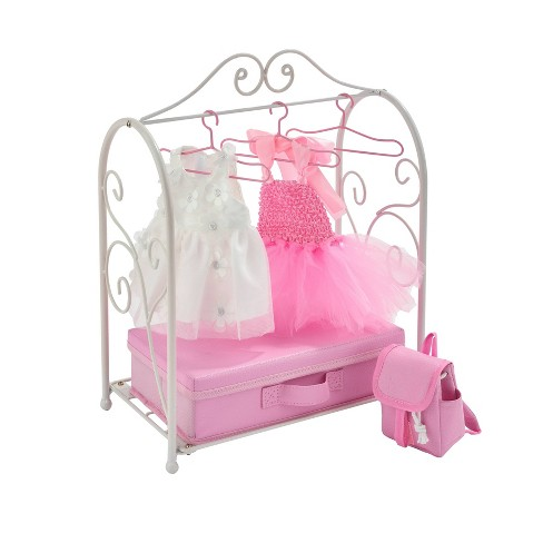 Badger Basket Scrollwork Metal Doll Armoire with Storage Dresses and Accessories - White/Pink - image 1 of 4