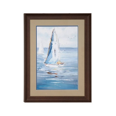 "17.5"" x 23.5"" Coastal Decor Sailboat Painting Print Rectangular Brown Wood Frame Blue - Olivia & May"
