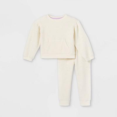 Toddler Girls' Textured Fleece Pullover Sweatshirt & Jogger Pants - Cat & Jack™ Cream