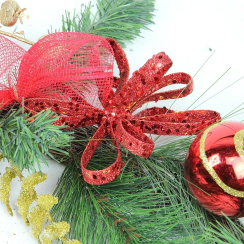 Northlight 6 X 10 Unlit Red Burlap And Gold Pinecone Artificial Christmas Garland Target