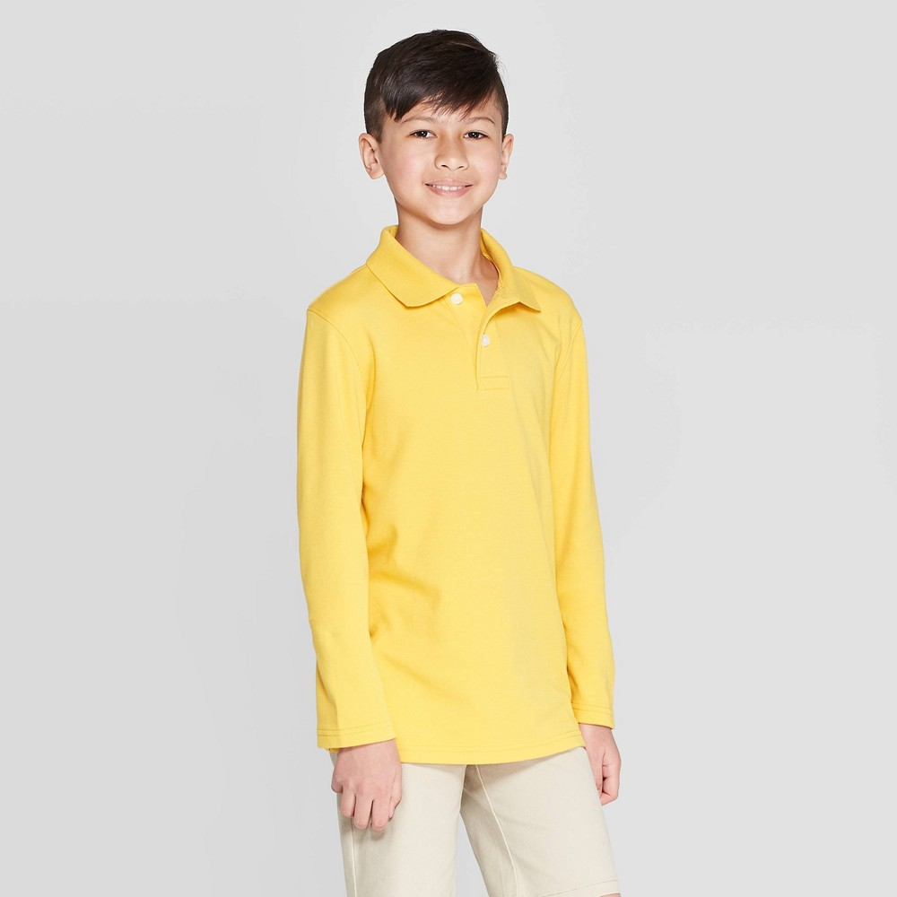 Image of Boys' Long Sleeve Interlock Uniform Polo Shirt - Cat & Jack Gold L, Boy's, Size: Large
