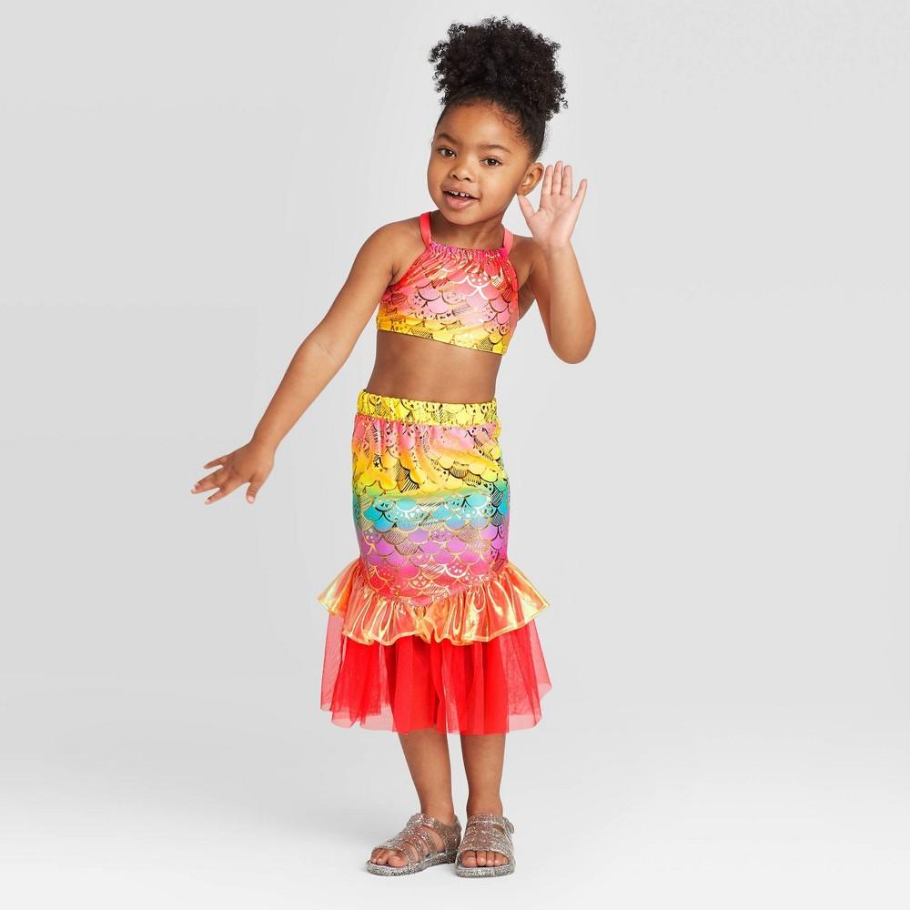 Toddler Girls' 3pc Mermaid Sclae Shirt and Bikini Set – Cat & Jack Pink 12M, Girl's