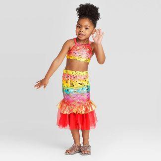 Toddler Girls' 3pc Mermaid Sclae Shirt and Bikini Set - Cat & Jack™ Pink 5T