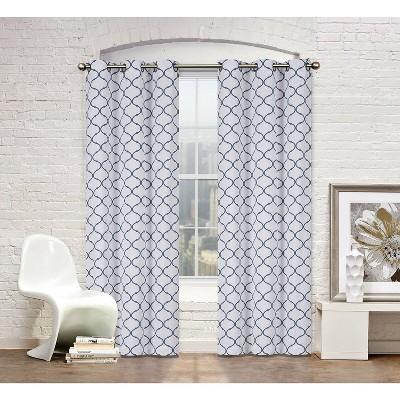 Regal Home Collections 2 Pack Premium Trellis Grommet Top Curtain Panels