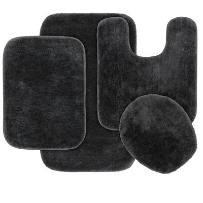 4pc Traditional Nylon Bath Rug Set Dark Gray - Garland Rug