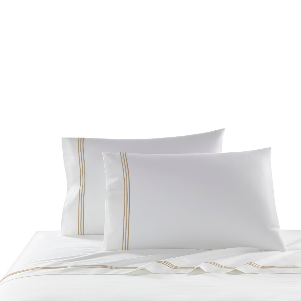 Best Queen 2pk Triple Line Solid Pillowcase Set Mist - Cassadecor