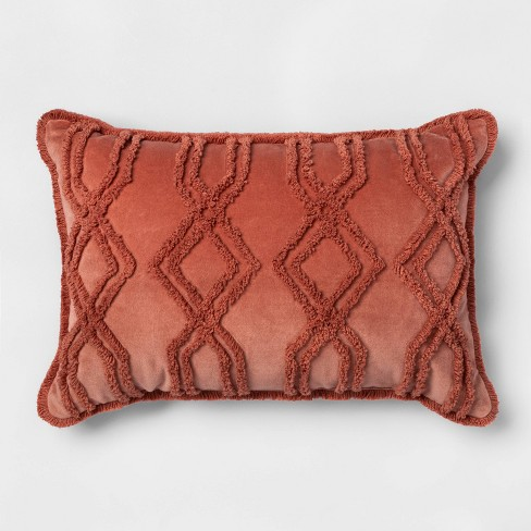 Oblong Velvet Chenille Throw Pillow Rose - Threshold™ - image 1 of 4