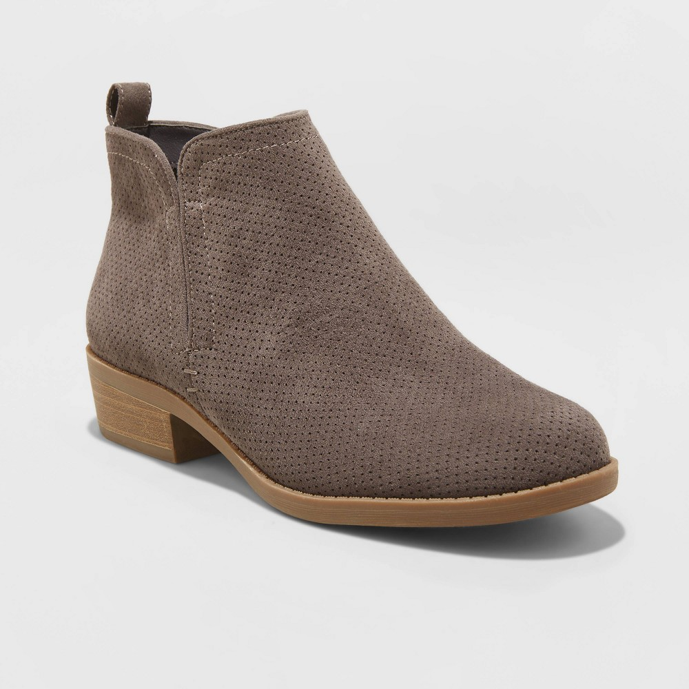 Women's Dylan Wide Width Microsuede Laser Cut Bootie - Universal Thread Gray 7.5W was $34.99 now $20.99 (40.0% off)