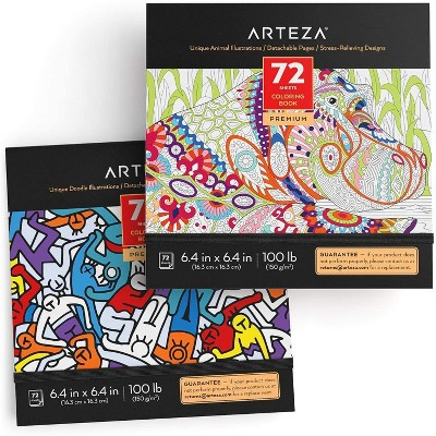 Arteza Coloring Books, Animal & Doodle Illustrations, for Kids or Adults - 72 sheets, Set of 2
