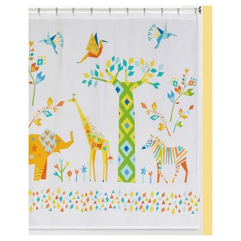 Tamara Kate Origami Jungle Shower Curtain Yellow White