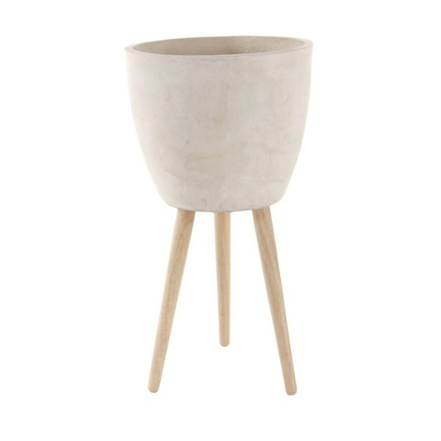 Modern Clay Plant Stand with Tripod Wood Base - Olivia & May - image 1 of 3