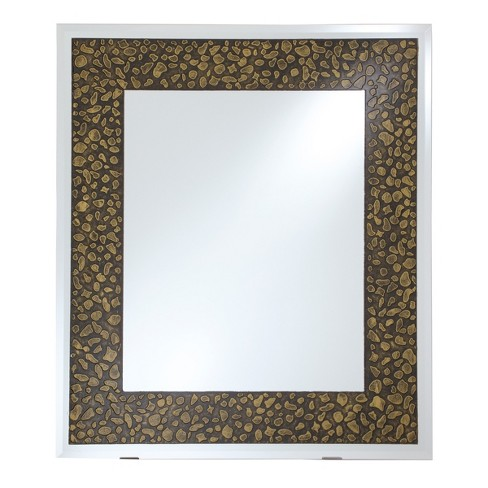 Rectangular Beveled Frameless Wall Mirror With Mirrored Edge And Embossed Stones Design Antique Gold 24 X 28 Breeze Point