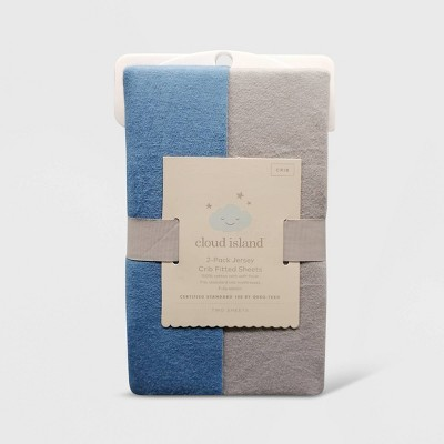 Fitted Crib Jersey Sheet - Cloud Island™ Gray & Blue 2pk