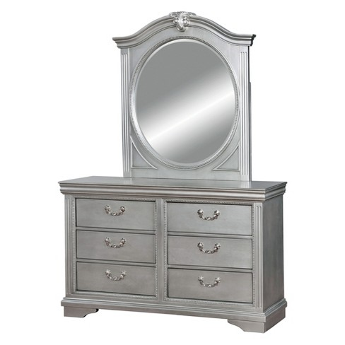Nathanson Traditional Felt Lined Top Drawer Antique Dresser And Mirror Set  Silver Gray - ioHOMES