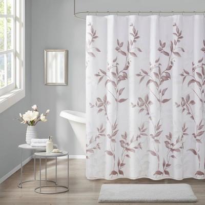Rosalie Burnout Printed Shower Curtain Mauve