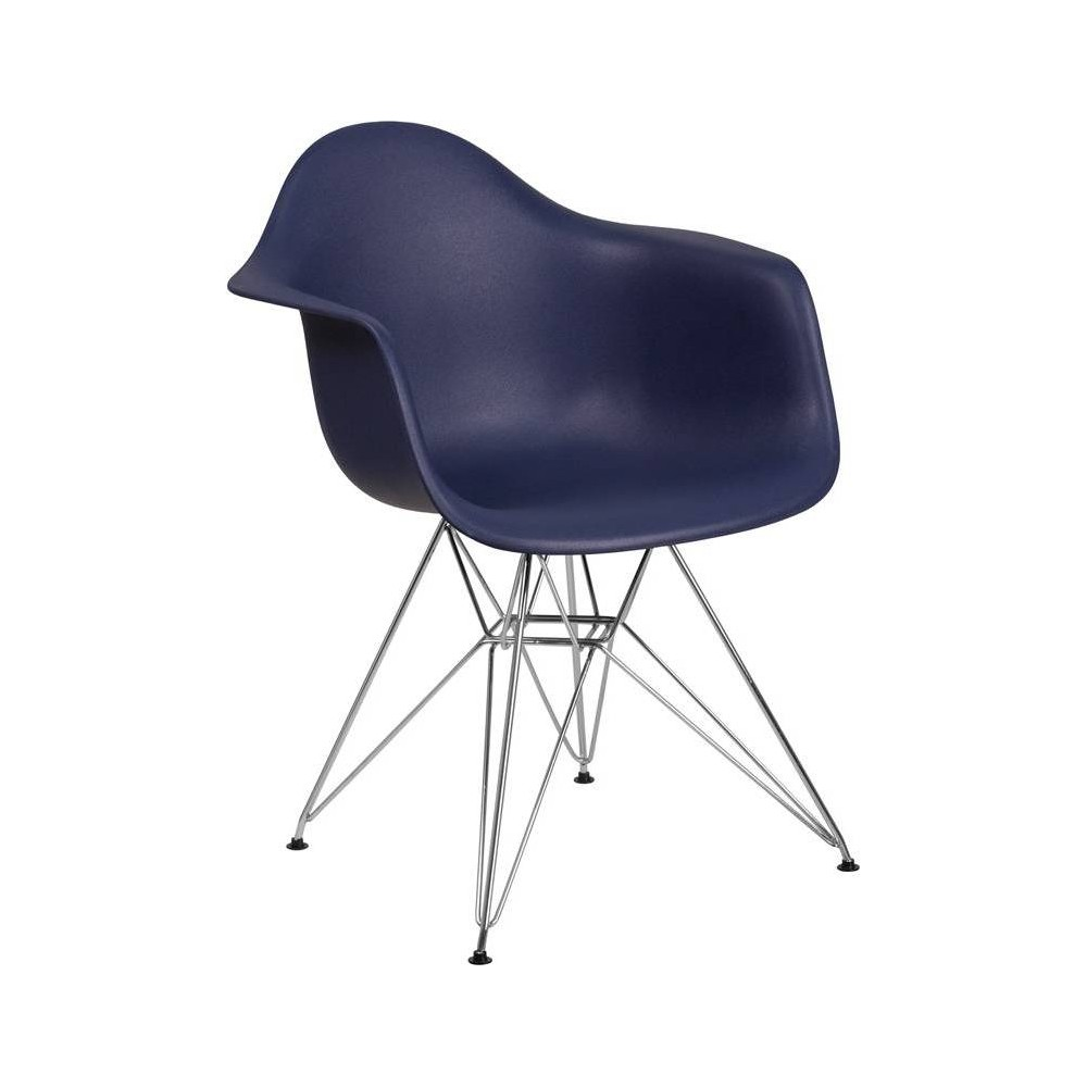 Image of Alonza Series Plastic Chair with Arms and Chrome Base Navy - Riverstone Furniture Collection