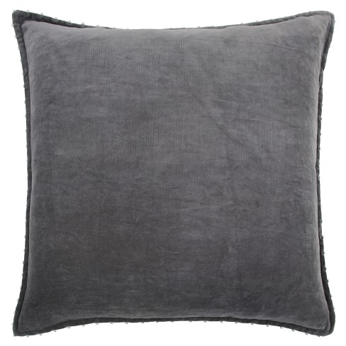 """22""""x22"""" Oversize Solid Velvet Pearl with Silver Beads Square Throw Pillow - Rizzy Home - image 1 of 4"""