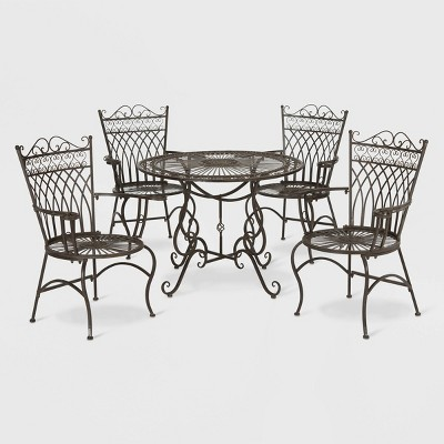 Thessaly 5pc Round Cast Iron Dining Sett - Rustic Brown - Safavieh