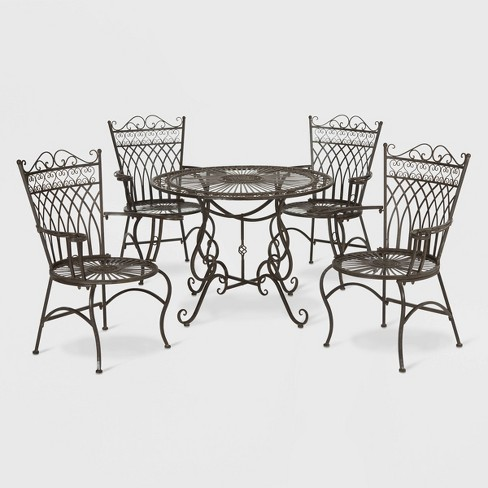 Thessaly 5pc Round Cast Iron Dining Sett - Rustic Brown - Safavieh - image 1 of 3