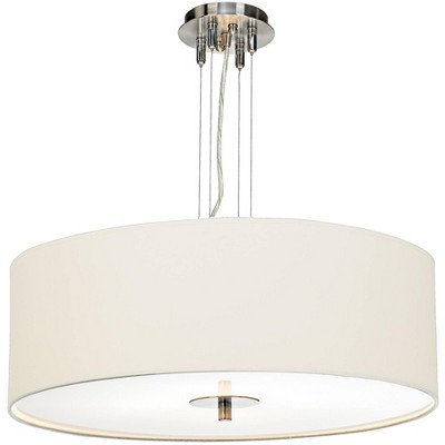 "Possini Euro Design Brushed Nickel Pendant Chandelier 24"" Wide Modern White Canvas 4-Light Fixture for Dining Room House Kitchen"