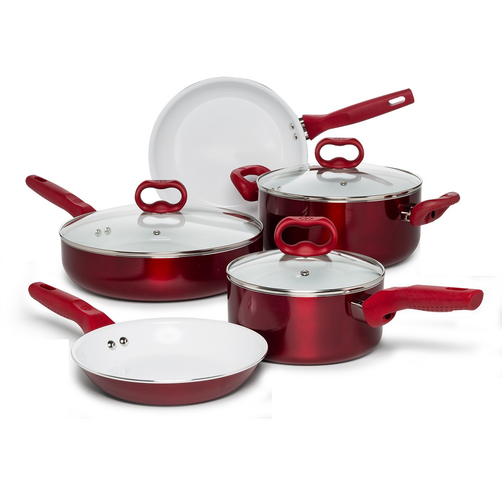 Image of Ecolution 8pc Bliss Cookware Set Red