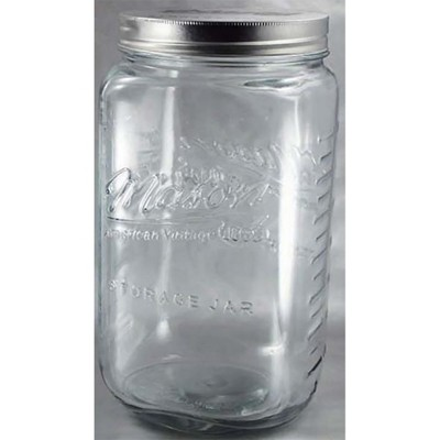 Grant Howard 51093 170 Ounce Classic Wide Mouthed Embossed Glass Mason Storage Jar Storage Container with Airtight Screw On Closing Lid