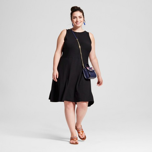 Women's Plus Size Knit Fit and Flare Dress - Ava & Viv™ Black - image 1 of 3