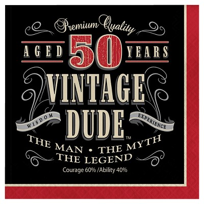 16ct Vintage Dude 50th Birthday Napkins