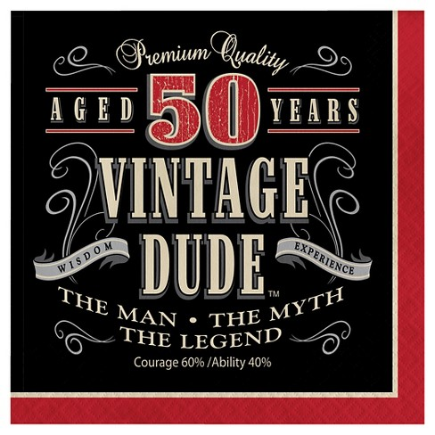 16ct Vintage Dude 50th Birthday Napkins Target