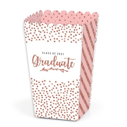 Big Dot of Happiness Rose Gold Grad - 2021 Graduation Party Favor Popcorn Treat Boxes - Set of 12 - image 1 of 4