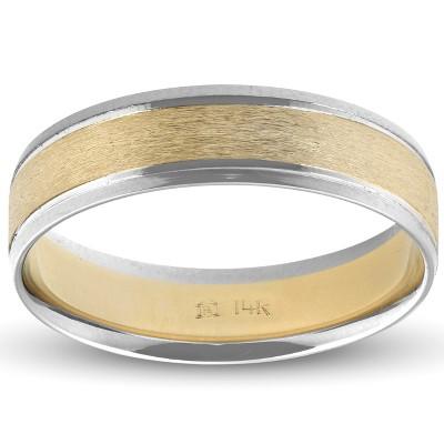 Pompeii3 Mens 14k White & Yellow Gold Two Tone Ring Satin Wedding Band 6mm Wide