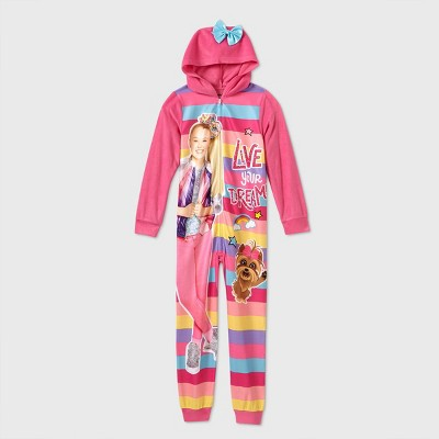 Girls' JoJo Siwa 'Live Your Dream' Unicorn Blanket Sleeper Union Suit - Pink