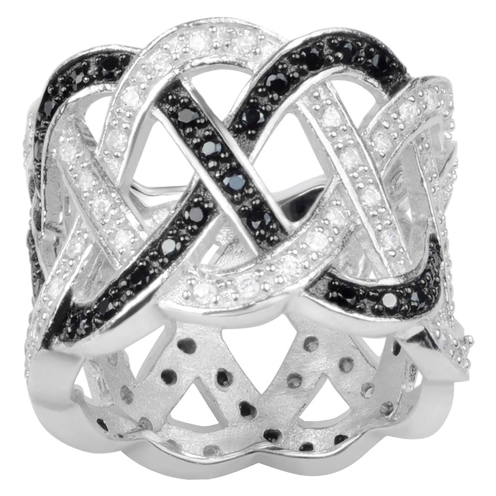 2 1/5 CT. T.W. Round-Cut CZ Pave Set Weaved Band in Sterling Silver - Black, 9, Girl's