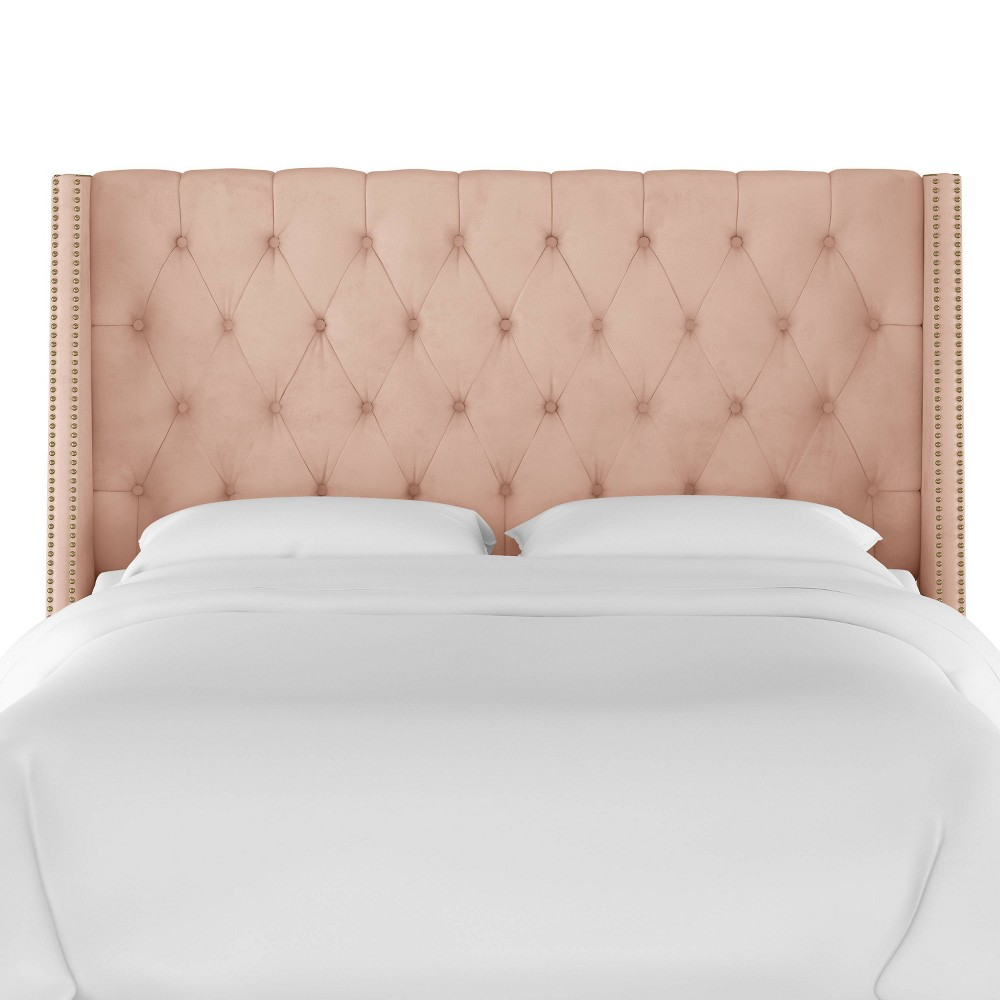 California King Nail Button Tufted Wingback Headboard in Velvet Soft Blush Pink - Skyline Furniture