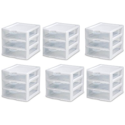 6) Sterilite 20738006 Small Compact Countertop 3 Drawer Desktop Storage Unit