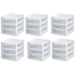 6) Sterilite 20738006 Small Compact Countertop 3 Drawer Desktop Storage Unit