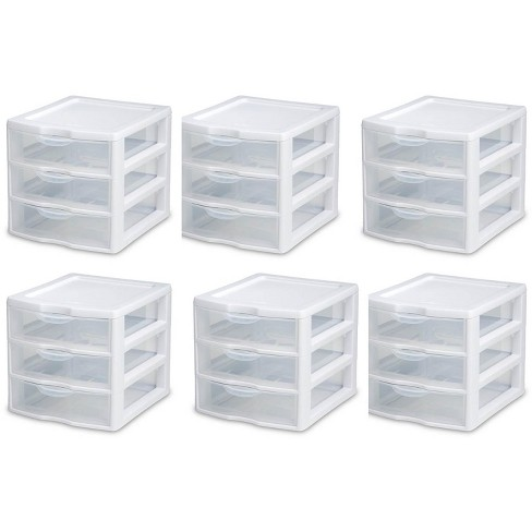 6) Sterilite 20738006 Small Compact Countertop 3 Drawer Desktop Storage Unit - image 1 of 3