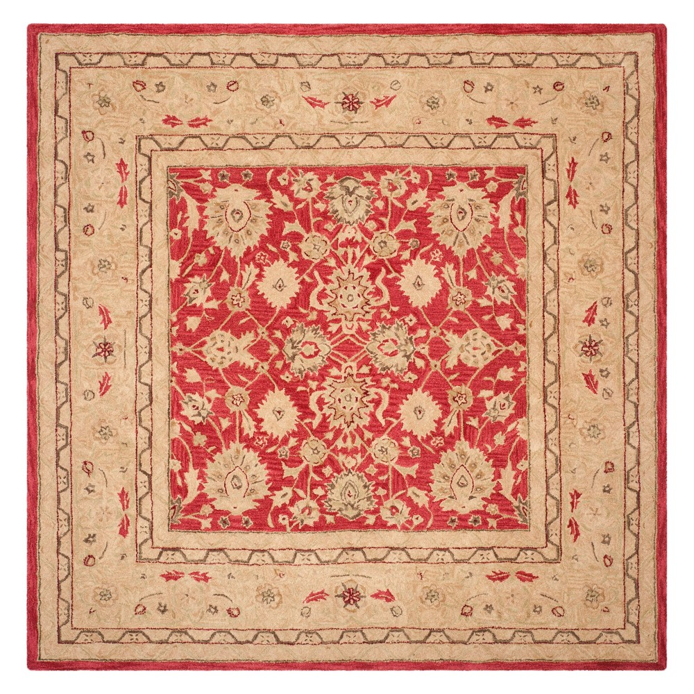 8'X8' Floral Square Area Rug Red/Ivory - Safavieh
