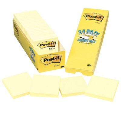 Post-it Original Notes Cabinet pk, 3 x 3 Inches, Canary Yellow, Pad of 90 Sheets, pk of 24