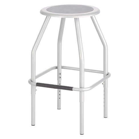 Safco® Diesel Series Industrial Stool, Stationary Padded Seat, Steel Frame, Silver - image 1 of 1
