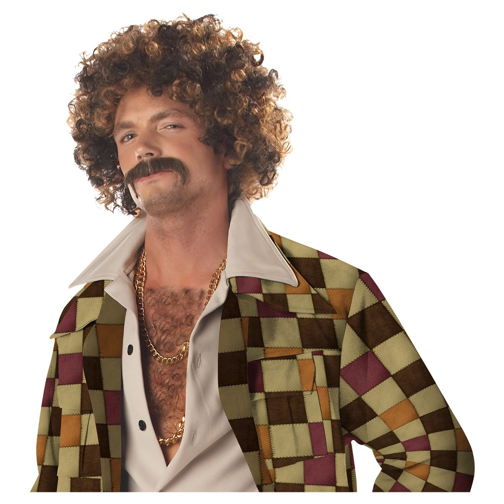 Disco Dirt Bag & Moustache Costume Wig Brown - One Size Fits Most, Men's