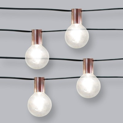 10ct Socket Collar Outdoor String Lights Rose Gold with Black Wire - Opalhouse™