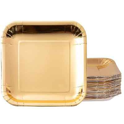 Juvale 48-Pack Disposable Metallic Gold Foil Paper Square Plates Party Supplies 9-Inch