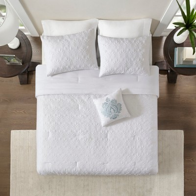 White Vancouver Solid Comforter Set (Queen)5pc