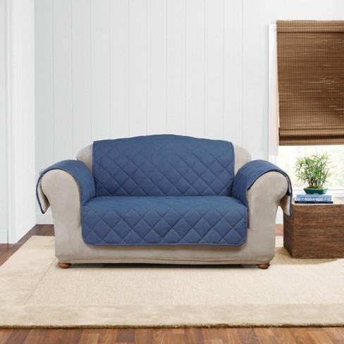 Denim/Sherpa Loveseat Furniture Cover Indigo - Sure Fit - image 1 of 3