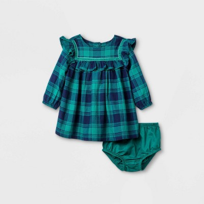 Baby Girls' Flannel Ruffle Dress - Cat & Jack™ Blue 6-9M