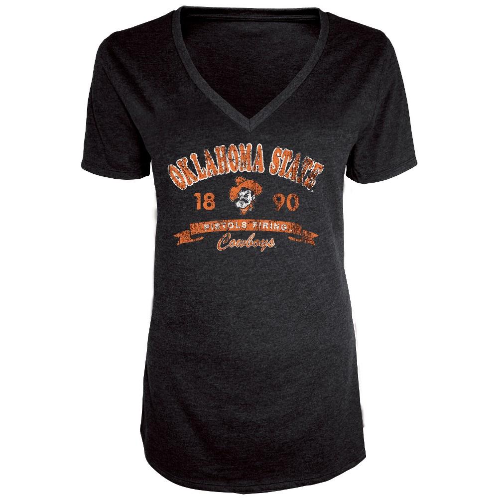 Oklahoma State Cowboys Women's Short Sleeve Heathered V-Neck T-Shirt - S, Multicolored